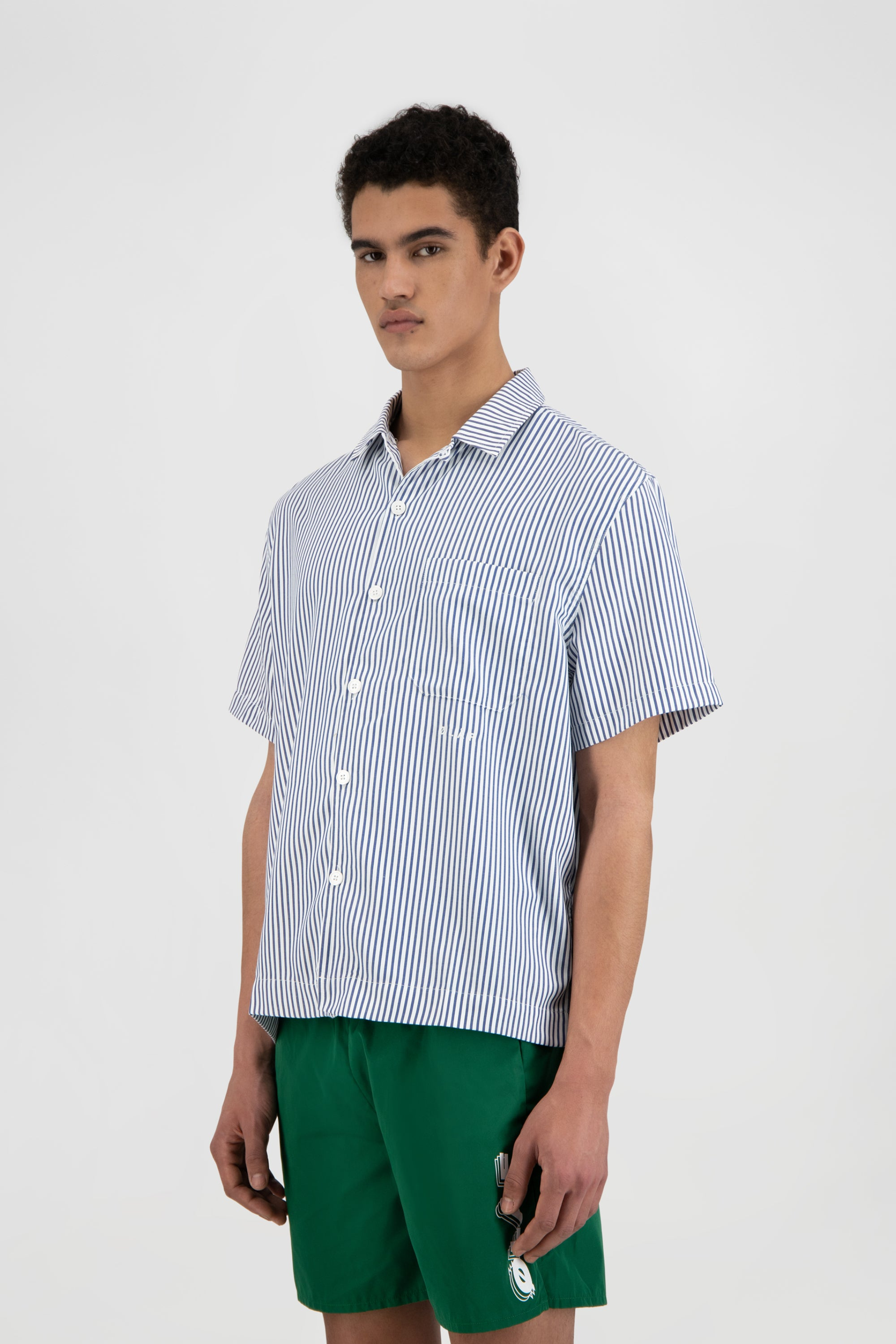 ØLÅF SS Stripe Shirt - Navy / White