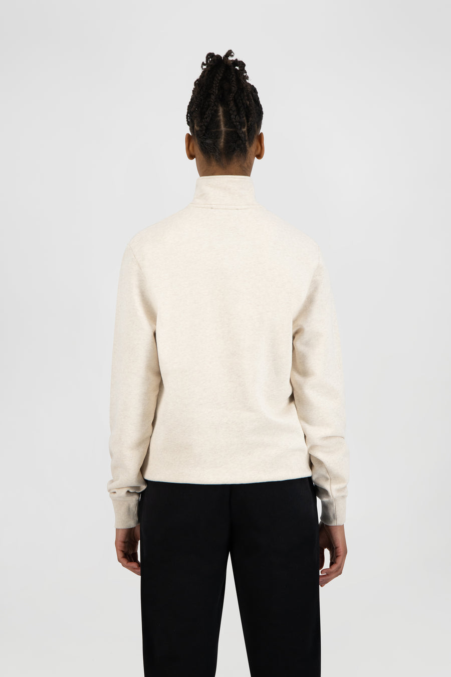 ØLÅF Italic Zip Mock - Ecru Heather