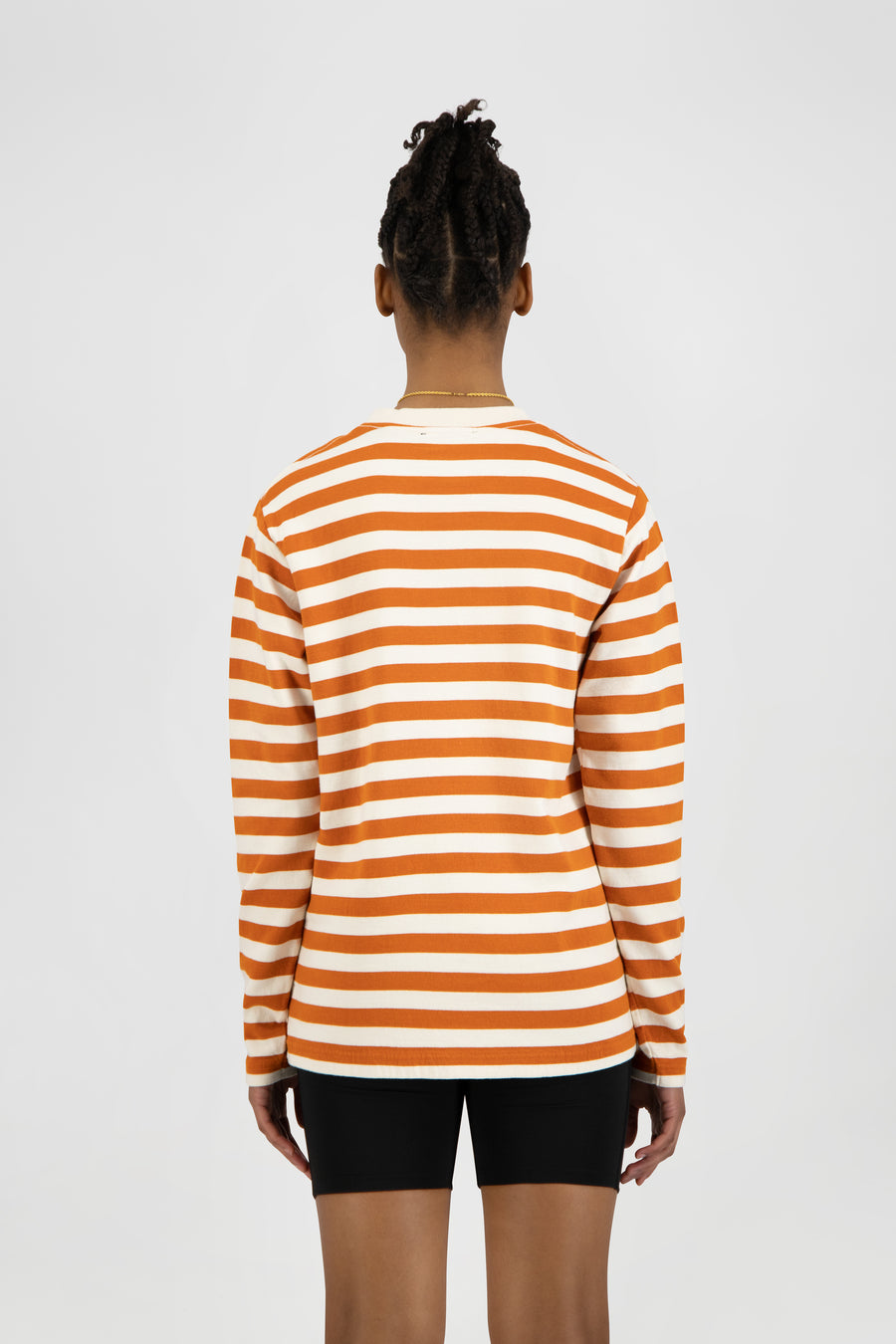 ØLÅF Stripe Sans LS Tee - White / Orange
