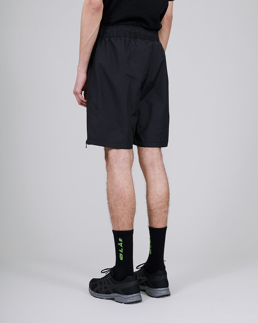 ØLÅF Nylon Summer Shorts Black, Nylon fabric, Full length side zipperd, Drawcords, Logo on left leg, Two side pockets, Made in Portugal