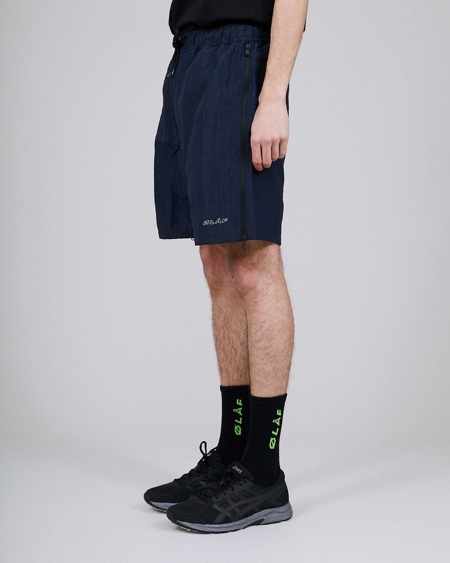 ØLÅF Nylon Summer Shorts Blue, Nylon fabric, Full length side zipperd, Drawcords, Logo on left leg, Two side pockets, Made in Portugal