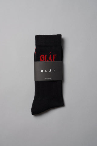 ØLÅF Triple Socks Black / Red, 75% Portuguese cotton, 23% polyamide, 2% elastane, Logo on ankle, Made in Portugal