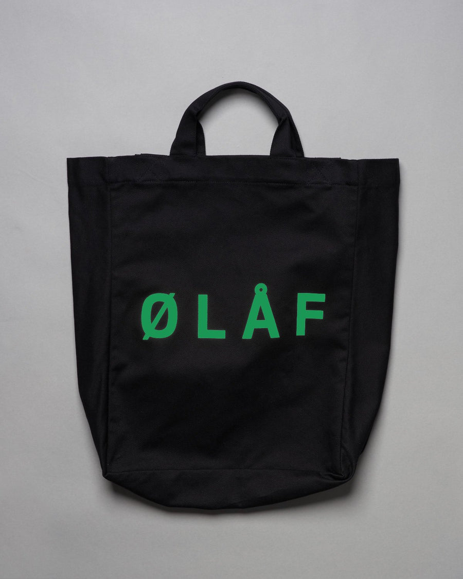 ØLÅF Tote Bag Washed Black / Green, Heavy cotton twill fabric with green logo, Inside pocket, Made in Portugal, Hidden logo label