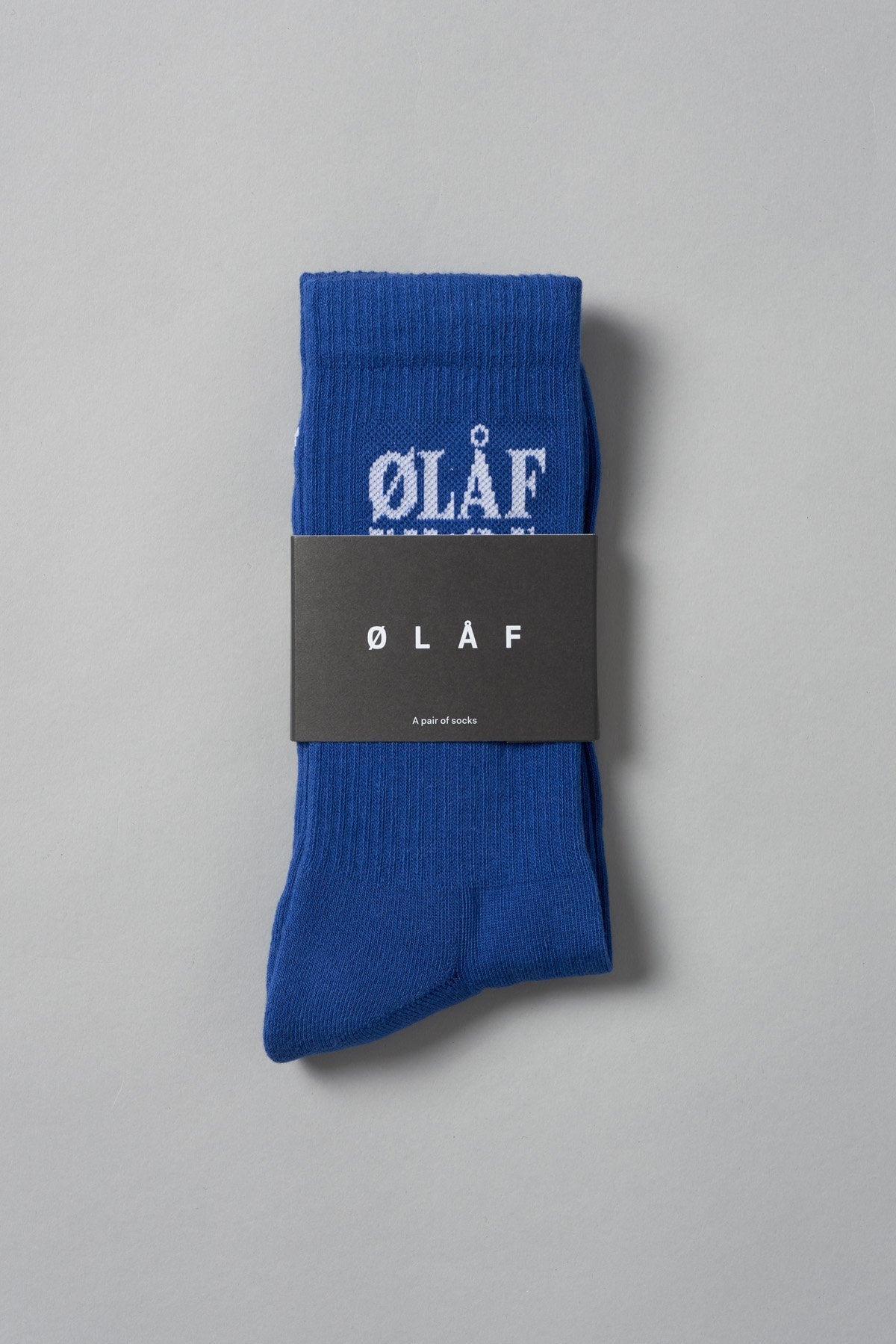 ØLÅF Triple Socks Blue, 75% Portuguese cotton, 23% polyamide, 2% elastane, Logo on ankle, One size fits all, Made in Portugal