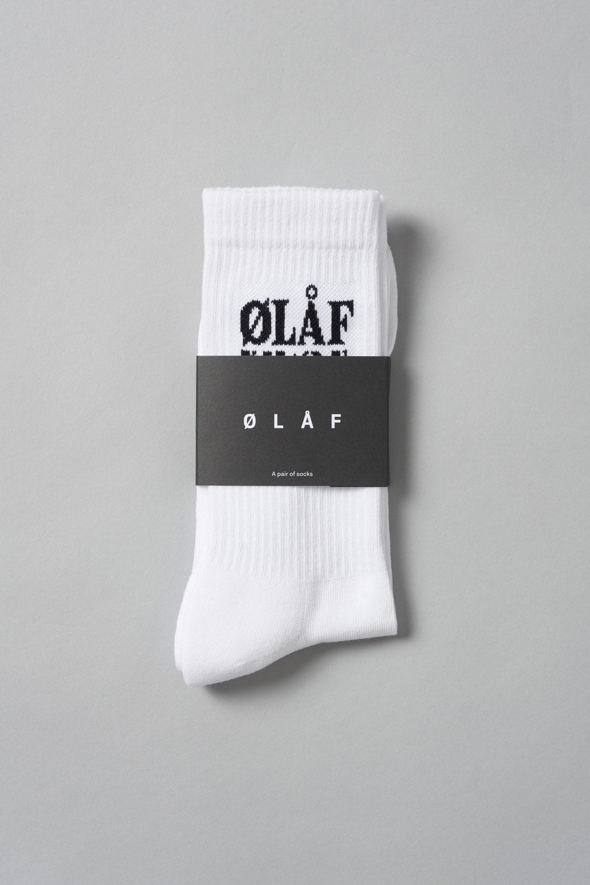 ØLÅF Triple Socks White, 75% Portuguese cotton, 23% polyamide, 2% elastane, Logo on ankle, One size fits all, Made in Portugal