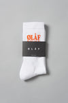 ØLÅF Triple Socks White / Orange / Blue, 75% Portuguese cotton, 23% polyamide, 2% elastane, Logo on ankle, One size fits all, Made in Portugal