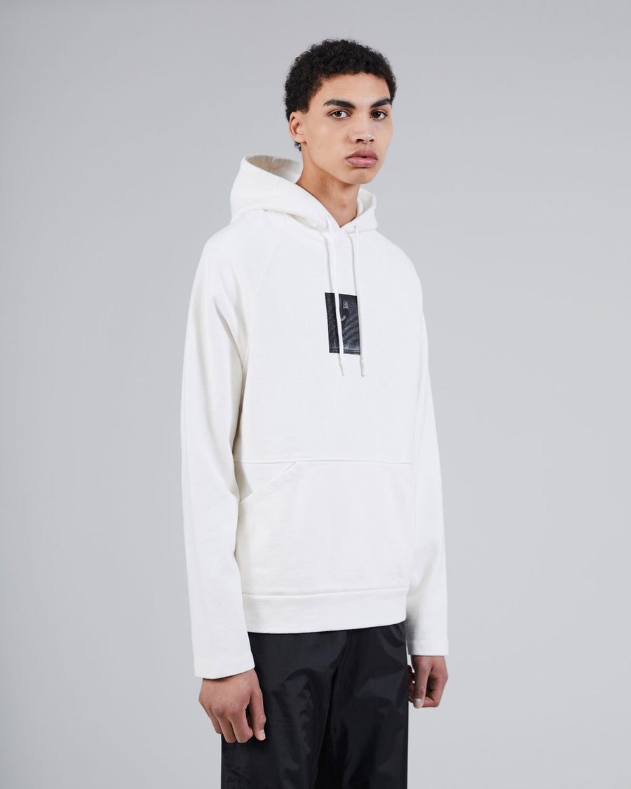 Evolving Hand Heavy Hoodie White, Portugese fabric, 100% cotton , 550 grams/sqm, Post wash, Cords with rubber tipping, Made in Portugal, Print on the front