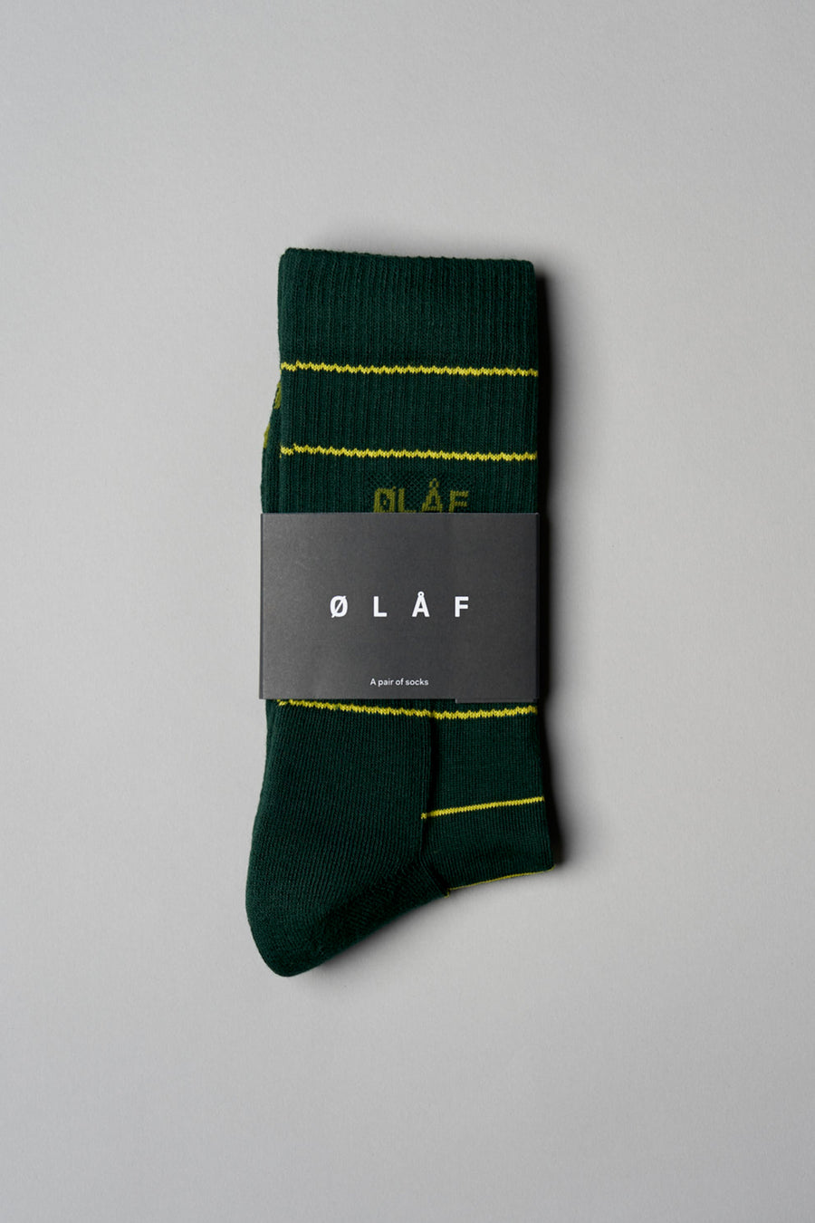 ØLÅF Stripe Socks - Forest Green / Sulfur
