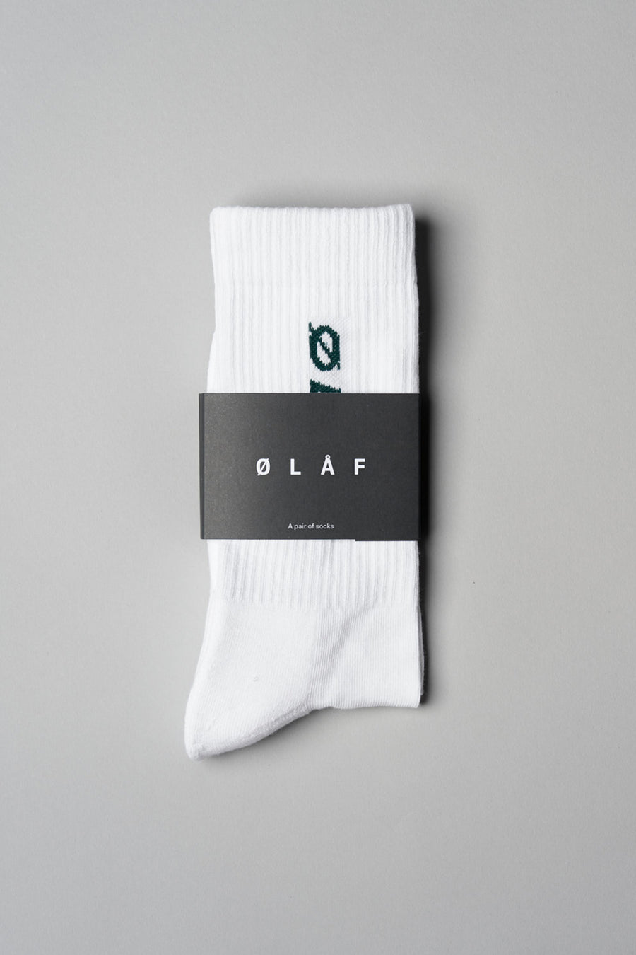 ØLÅF Italic Socks <br>White / Forest Green