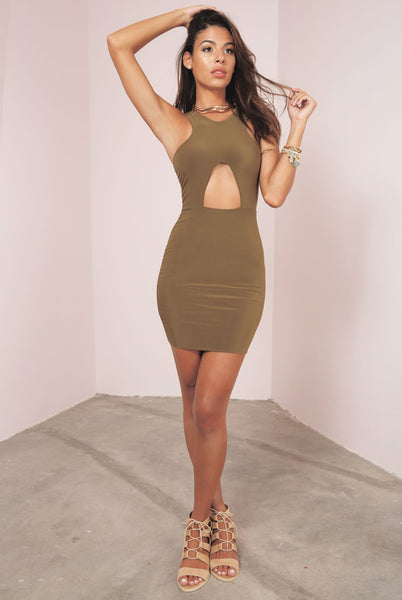 Cross Cut Out Mini Dress - Khaki