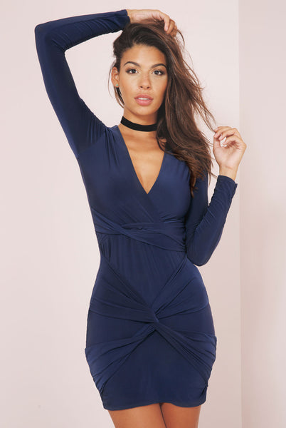 Plunge Front Knot Slinky Bodycon Dress - Royal Blue