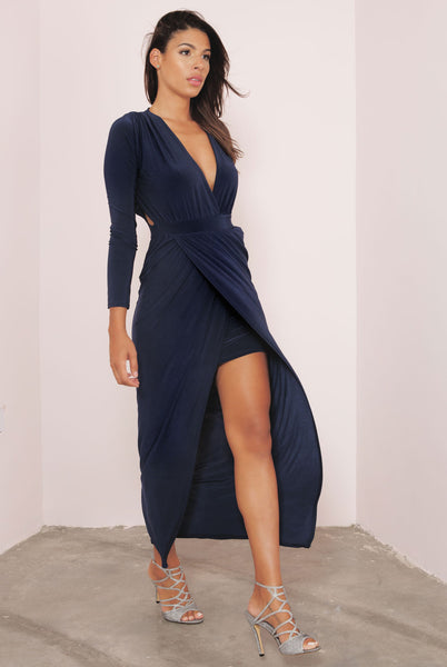 Plunge Cut Out Maxi Slinky Dress