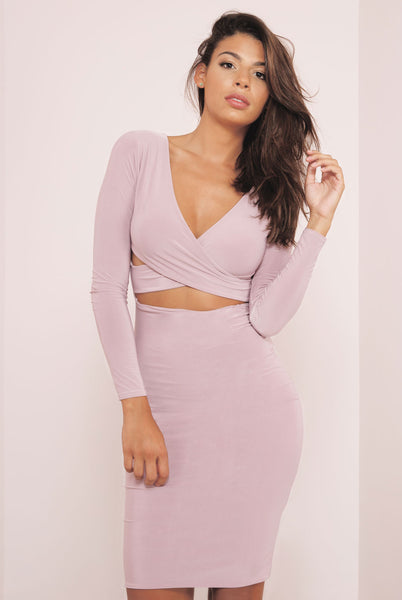 Cross Over Long Sleeve Bodycon Slinky Dress