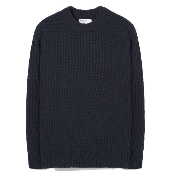 Loose Crew Navy Rack Stitch Knit - Townsfolk