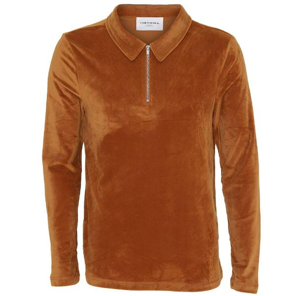 Niels LS velour polo orange - Townsfolk