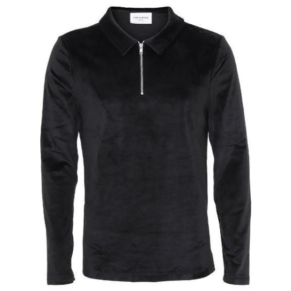 Niels LS velour polo black - Townsfolk