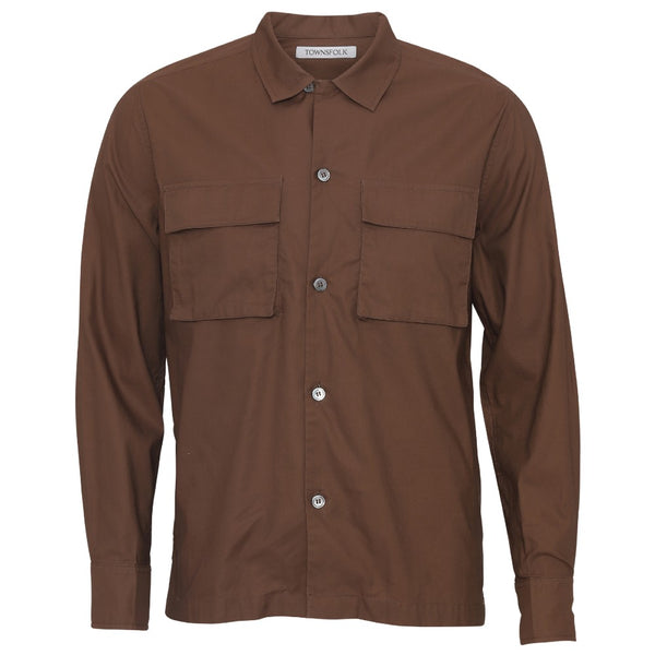Utility poplin shirt brown