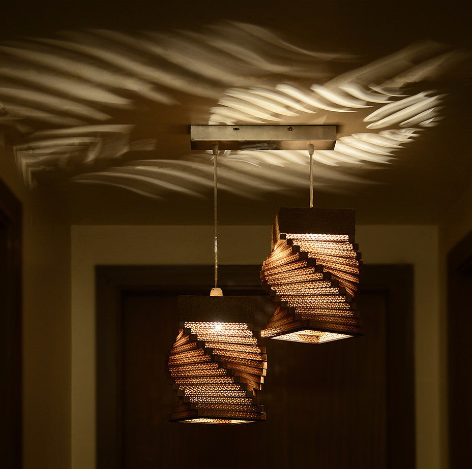Helix Twins Pendant Brown Hanging Lamp - Hanging Lamp - Sylvn Studio