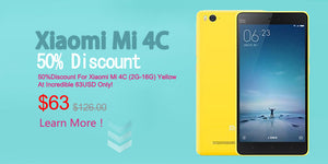 50% Discount For Xiaomi Mi 4c (2GB-16GB) Yellow At Incredible 63USD Only!