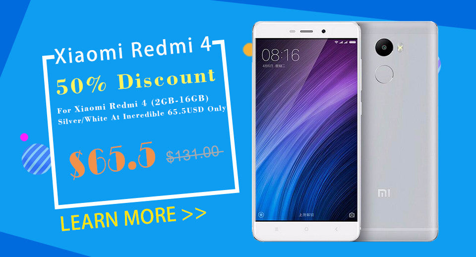 50% Discount For Xiaomi Redmi 4 (2GB-16GB) Silver/White At Incredible 65.5USD Only!