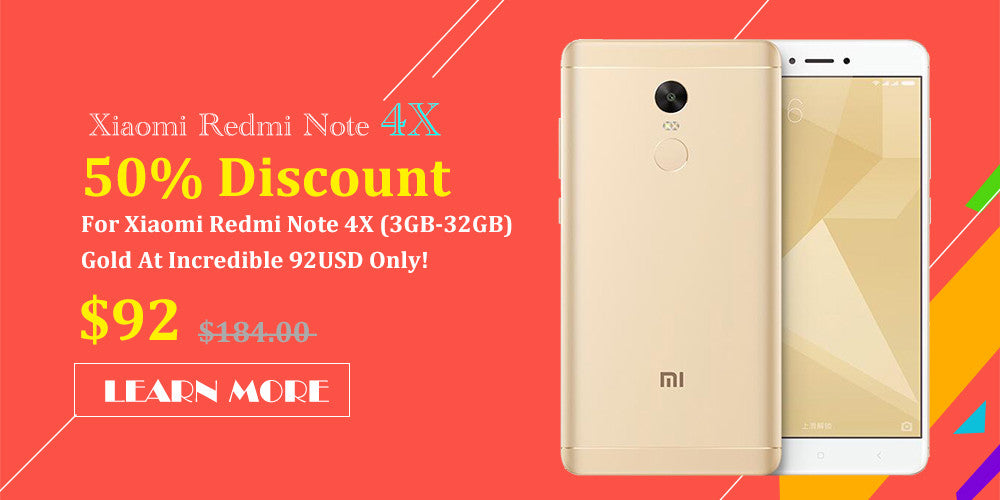 50% Discount For Xiaomi Redmi Note 4X (3GB-32GB) Gold At Incredible 92USD Only!