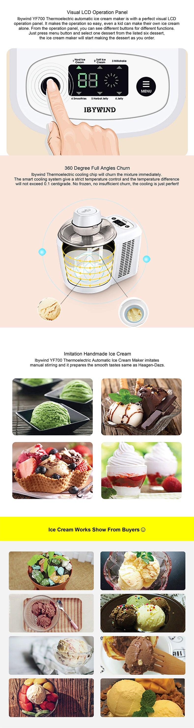 Ibywind YF700 Thermoelectric Automatic Ice Cream Maker