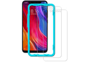 Ibywind Xiaomi Mi 8 Tempered Glass Screen Protector with Bubble Free Installation Applicator,Anti-Fingerprint,without White Edges for Xiaomi Mi 8(Pack of 2)-Transparent