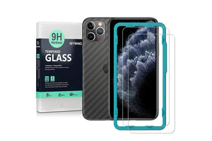 Ibywind Screen Protector for iPhone 11 Pro [Pack of 2] with Back Carbon Fiber Skin Protector,Including Easy Install Kit