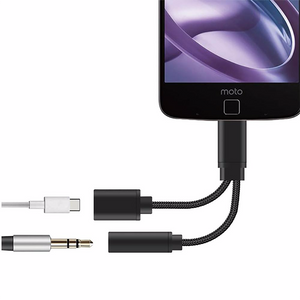 Flos Type-C 3.5mm headphone & Lighting 2 in 1 Adapter Supporting Type C 2.0 &Type C 1.0