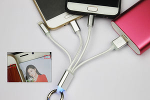 Flos 3 in 1 Multiple USB Charging Cable with iPhone lightning/Android Type-C/Micro USB for iPhone Xiaomi Huawei Samsung