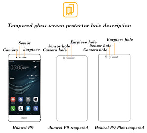 [2PCS PACK] Huawei P9 SCREEN PROTECTOR,**BUBBLE FREE INSTALLATION APPLICATOR** FLOS TEMPERED GLASS SCREEN PROTECTOR [ANTI-FINGERPRINT] FOR Huawei P9 -TRANSPARENT