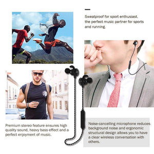 RB-S10 Best Wireless 4.1 Sports Earphones with Mic, Magnetic Earbuds, IPX7 Waterproof, HD Sound with Bass, Noise Cancelling, Secure Fit, Up to 8 Hours Working Time (Black)