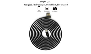 iPhone Cable,Flos Copper-Zinc Alloy Apple Lighting Cable To Reversible USB 2.0 Head Stylish,USB 2.1A Fast Charging For iPhone X/iPhone 8/iPhone 7/iPhone 6/iPhone 6 Plus/iPhone 8 Plus/iPad-3.3Ft/1M(Black)