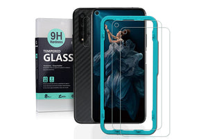 Ibywind Screen Protetor for Honor 20 [Pack of 2] with Camera Lens Tempered Glass Protector,Back Carbon Fiber Skin Protector,Including Easy Install Kit