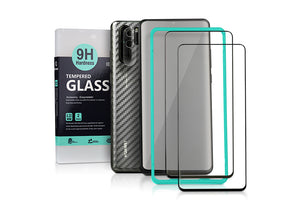 Ibywind Screen Protector for Huawei P30 Pro[Pack of 2][9D Full Coverage] with Camera Lens Tempered Glass Protector,Back Carbon Fiber Skin Protector,Including Easy Install Kit