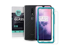Ibywind Screen Protector for OnePlus 7 [Pack of 2] with Camera Lens Tempered Glass Protector,Back Carbon Fiber Skin Protector,Including Easy Install Kit