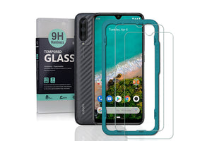 Ibywind Screen Protector for Xiaomi Mi A3 / Mi CC9e [Pack of 2] with Camera Lens Tempered Glass Protector,Back Carbon Fiber Skin Protector,Including Easy Install Kit