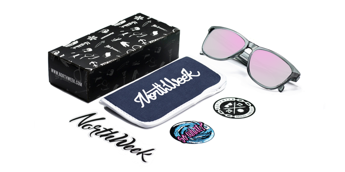Gafas de sol polarizadas BRIGHT GREY - ROSE GOLD POLARIZED con caja, funda y pegatinas