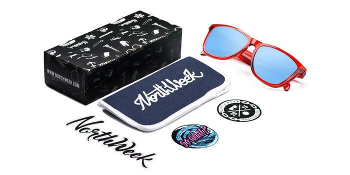 Gafas de sol polarizadas BRIGHT RED - ICE BLUE POLARIZED con caja, funda y pegatinas