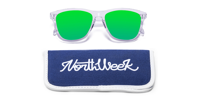 Gafas de sol polarizadas BRIGHT WHITE - GREEN POLARIZED con funda