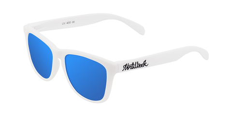 MATTE WHITE - BLUE POLARIZED
