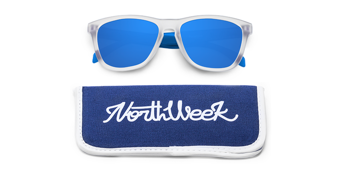 Gafas de sol polarizadas SMOKY WHITE & BLUE - BLUE POLARIZED con funda