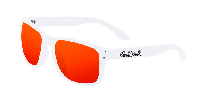 OU BOLD MATTE WHITE - RED POLARIZED