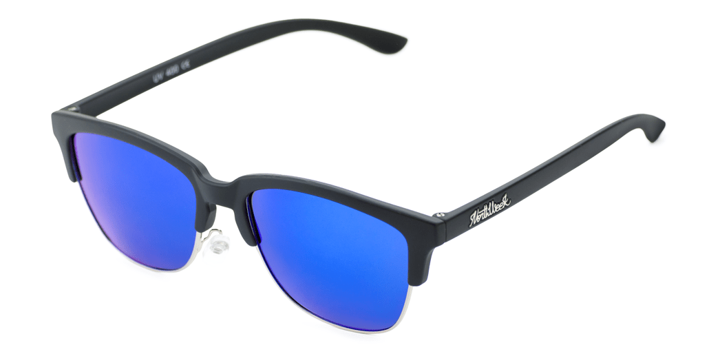 Old School Matte Black - Blue Polarized