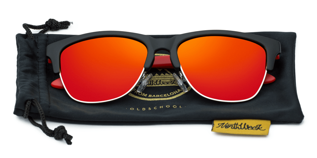 Old School Matte Black & Red - Red Polarized