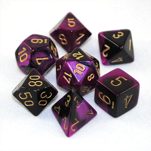 BLACK & PURPLE w/GOLD - 7-Die Gemini Dice Set