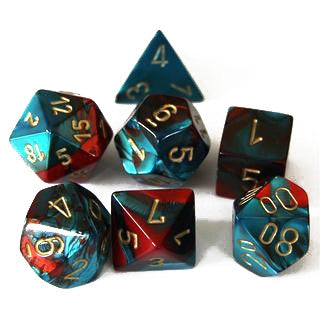 RED & TEAL w/GOLD - 7-Die Gemini Dice Set