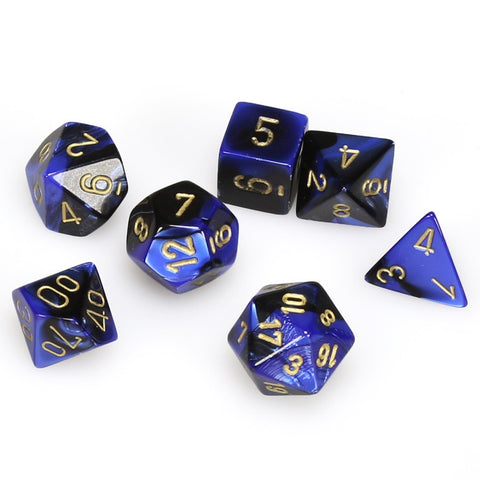 BLACK & BLUE w/GOLD - 7-Die Gemini Dice Set