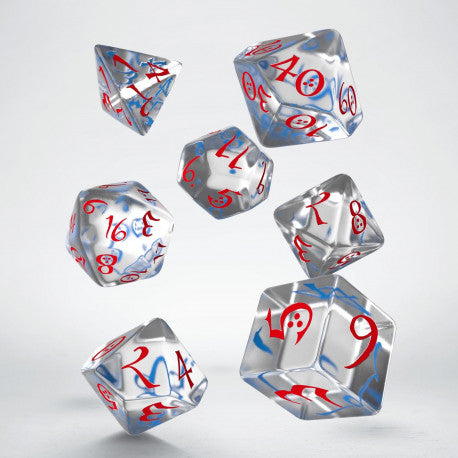 Classic RPG Translucent & blue-red Dice Set (7)