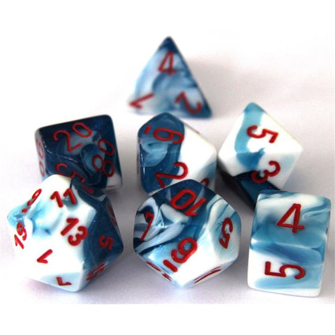 ASTRAL BLUE & WHITE w/RED - 7-Die Gemini Dice Set